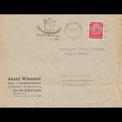 Gross Umstadt 1938 Korb-Flaschenfabrik nach Berlin
