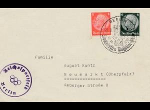 Brief Reichssportfeld Berlin 1936 - Stempel - Staatstreffen Mussolini 1937