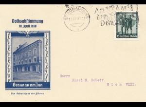 Propagandakarte: Anschluss Österreich 1938 - Braunau
