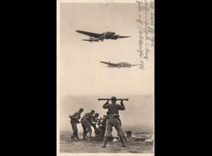 Feldpost Foto-Karte 1939 Halle/Saale -Flugzeuge/Flak/Beobachter