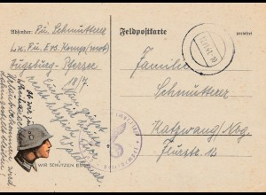Feldpostkarte: WIR SCHÜTZEN EUCH ! Augsburg 1941 nach Katzwang