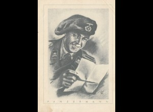 Propagandakarte: Panzerfahrer: Rückseitig Verdruck !!!