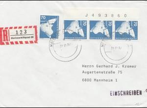 Marineschiffpost - Einschreiben 1987 nach Mannheim