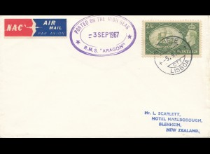 Lisboa 1967: Posted on the high seas - RMS Aragon to New Zealand