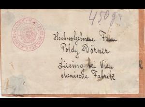 Kriegs-Marine: S.M.Schiff Scharfschütze- Adresse auf Wertpaket nach Liesing/Wien