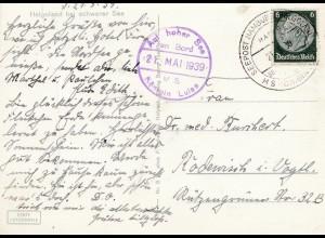 Ansichtskarte Helgoland 1939: Auf hoher See mit Königin Luise