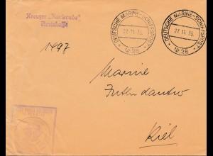1935: Deutsche Marine Schiffspost Nr. 28 nach Kiel: Kreuzer Karlsruhe
