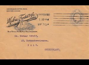1912: London Mabies Todd - Schwan und Federhalter nach Bale/CH