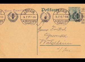 1913: Leipzig Deutsches Turnfest - Ganzsache nach Waldheim