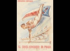 Ansichtskarte 1948 Sokol-Kongreso en Praha