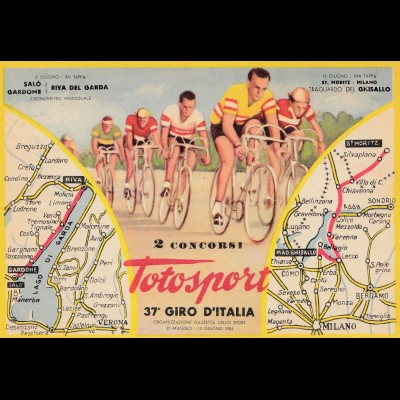 1954: Italien: Totosport: all 22 cards; 37. Giro D'Italia: 22 different cancels