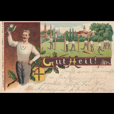 1904: Ansichtskarte Turner Grosssachsenheim nach Barmen
