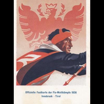 1936: Festkarte der Fis -Wettkämpfe in Innsbruck/Tirol - Ski