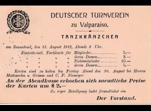 1912: Chile: Deutscher Tanzverein Valparaiso-Maritima - Einladung