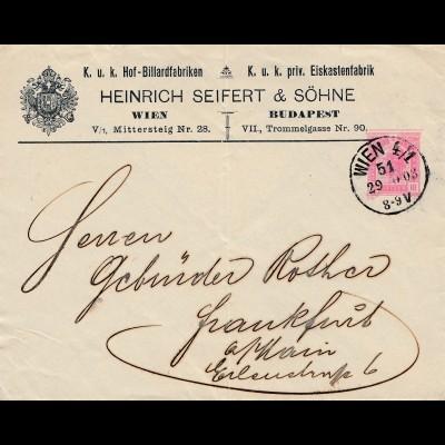 1903: Österreich-Wien-Ganzsache nach Frankfurt-Billardfabrik-Eiskastenfabrik