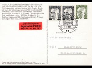 1974: Ansichtskarte Frankfurt Main zur Fußball WM - Spiel Jugoslavien-Brasilien