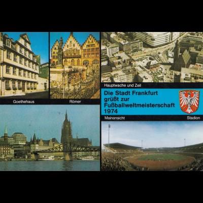 1974: Ansichtskarte Frankfurt Main zur Fußball WM - Werbeausstellung