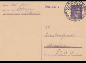 1943: Ganzsache Hockenheim Tabak und Zigarettenindustrie