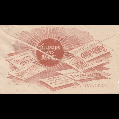 1893: USA: San Francisco to Oakland: Tillmann Tea/cigars/Tobaccos, ...