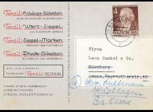 1953: Textil Anhänge-Etiketten, Siegel Marken Berlin -Werbekarte