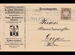 1908: Drucksache Kleiderfabrik Schneider München - Knaben Anzüge