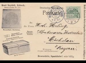 1905: Lübeck nach Michelau - Damen-Hut-Karton, Stuhlsitze, Besenstiele, Körbe