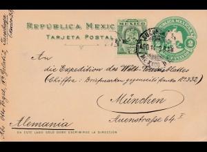 1909: Mexico - Ganzsache - nach Deutschland - privater Zudruck rückseitig
