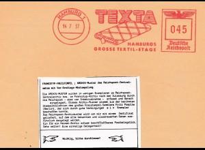 1937: Muster Freistempel Texta-Hamburg Textil