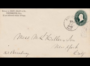 1895: Ganzsache Portsmouth Ohio to New York-Schuhe/Schlittschuhe/shoes
