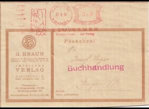 1930: Freistempel Berlin mit Bär der Firma Braun Druck als Päckchen