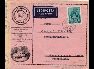 1943: Ungarn Luftpost nach Deutschland-Zensur- Löwe/Bienen