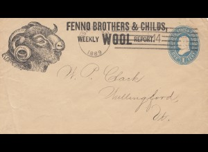 1889: USA - Ganzsache - Büffel