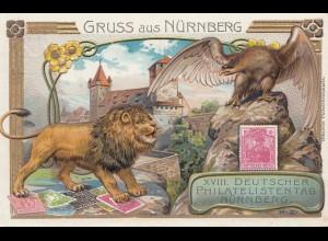 Ansichtskarte-Ganzsache: Gruss aus Nürnberg: Löwe/Adler Philatelistentag