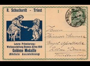 Österreich: Ganzsache Goldene Medaille Buenos Aires 1910-Hund-Mädchen