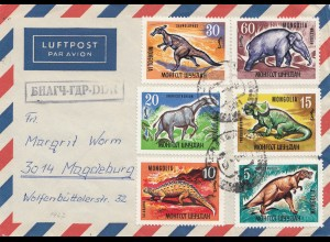 Luftpostbrief Mongolei: Saurier-Urzeit Tiere