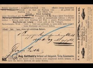 1891: Kaiserslautern Ganzsache: Angebot Fluss und Seefische