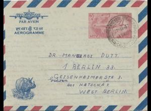 1967: Indien nach Berlin- Flugzeug und Nashorn auf Brief