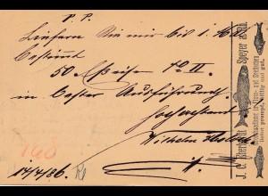 1886: Württemberg: Ganzsache Stuttgart, rückseitig Werbung Fluss- und Seefisch