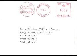 1974: Schweden-Gunnebobruk - Pferd im Freistempel