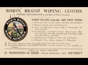 1923: USA Detroit/Michigan: Robin Brand Wiping Cloths-Vogel/Bird