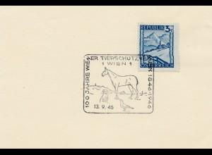 1946: Österreich: 100 Jahre Tierschutz -Pferd, Hund, Vogel