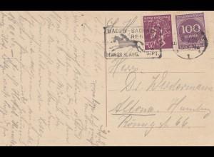 1923: Ansichtskarte Baden-Baden: Pferderennen