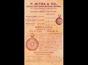 1900: Indien: Calcutta: Ganzsache: Rückseitig: Uhren