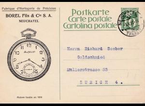 1927: Schweiz: Neuchatel - Uhren an Goldschmied in Zürich - Ganzsache