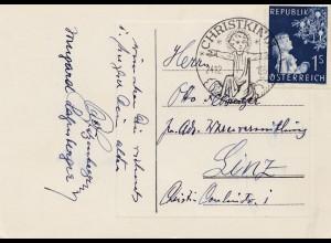 1953: Christkindl - Österreich Postkarte nach Linz