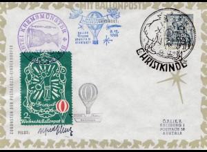 Christkindl - Österreich Ballonpost 1962
