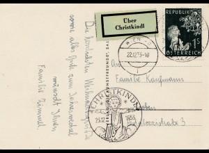 1953: Christkindl - Österreich auf Postkarte nach Loeben