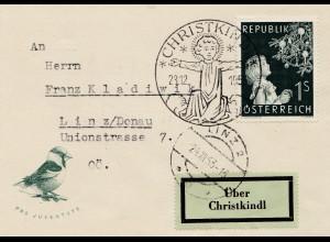 1953: Christkindl - Österreich mit Vogel