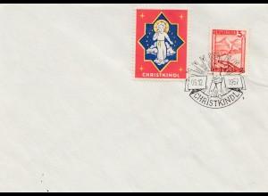 1957: Christkindl - Österreich auf Blanko Brief mit Vignette
