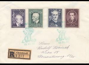 1950: Christkindl - Österreich: Einschreiben mit Aufgabeschein